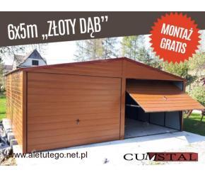 Garaż blaszany 6x5m drewnopodobny garaże blaszaki na wymiar