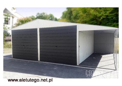 Garaż blaszany dwuspadowy w kolorze garaże blaszane z wiatą