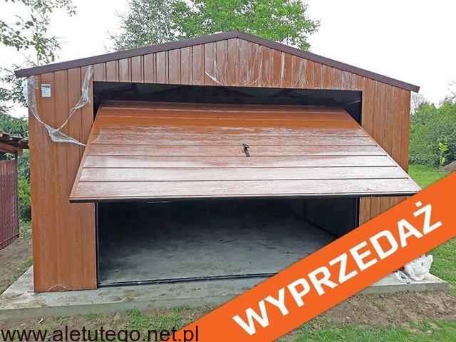 Garaż blaszany 4x5 drewnopodobny brama uchylna - 1/2