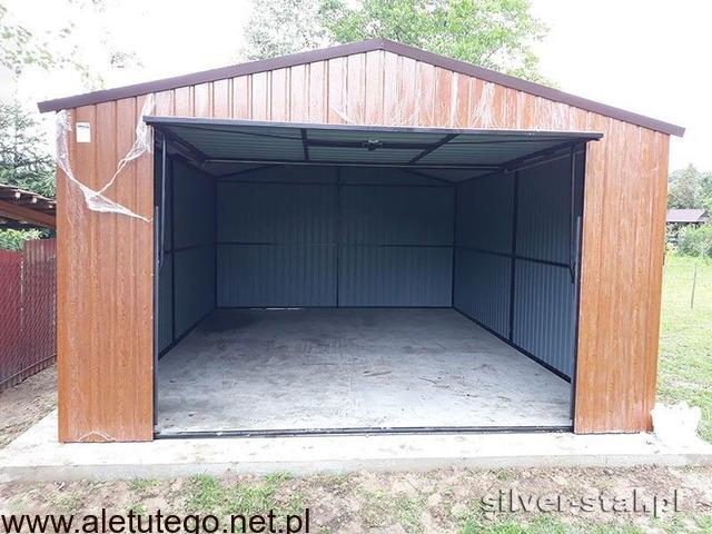 Garaż blaszany 4x5 drewnopodobny brama uchylna