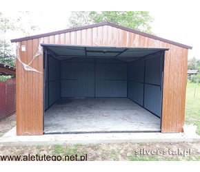 Garaż blaszany 4x5 drewnopodobny brama uchylna - 2/2