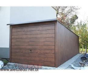 Garaż blaszany z bramą uchylną blaszak 3x5 drewnopodobny montaż gratis