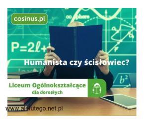 Zapisz się do Darmowego Licem dla dorosłych w  Cosinusie! Rekrutacja trwa!
