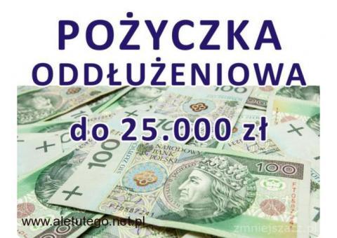 Wygodna POŻYCZKA oddłużeniowa do 25 tys. zł