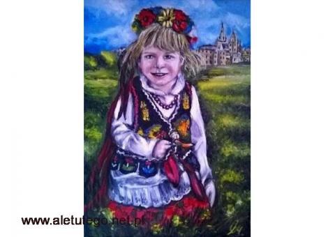 Sprzedam obraz olejny - Dziewczynka w stroju Krakowskim