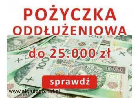 POŻYCZKA do 25.000 zł dla osób z zadłużeniami