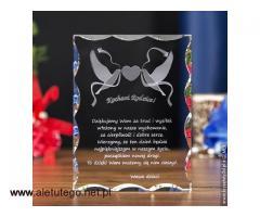 Kryształ 3D z gołąbkami na prezent dla rodziców z okazji ślubu