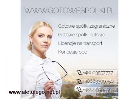 Gotowe Spółki transportowe. Licencje na spedycje i transport 603557777