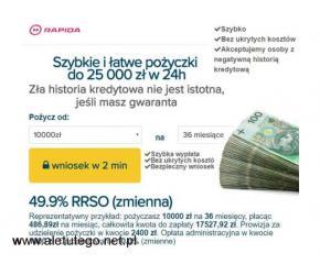 Rapida Money - Pożyczki dla zadłużonych w BIK, KRD