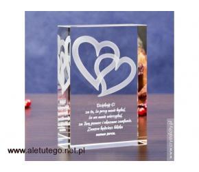 Romantyczna statuetka na prezent - Splecione Serca 3D z Twoją dedykacją