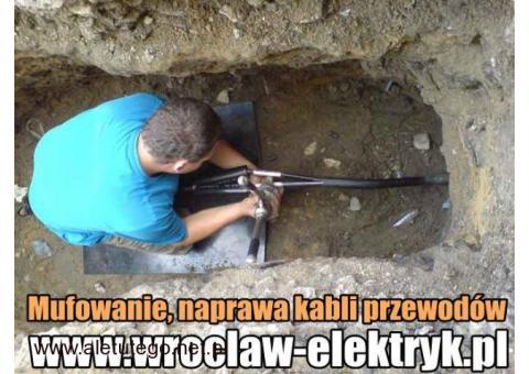 Mufowanie, naprawa kabli przewodów. Mufa energetyczna.Wrocław i okolice
